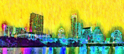 Financial Painting - Austin Texas Skyline 101 - Pa by Leonardo Digenio