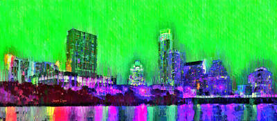 Evening Digital Art - Austin Texas Skyline 102 - Da by Leonardo Digenio