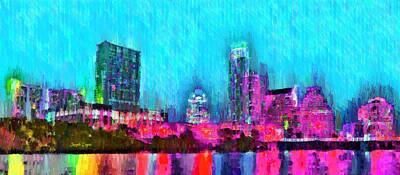 Lines Painting - Austin Texas Skyline 103 - Pa by Leonardo Digenio