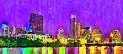 Austin Skyline Painting - Austin Texas Skyline 104 - Pa by Leonardo Digenio