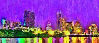 Skies Painting - Austin Texas Skyline 104 - Pa by Leonardo Digenio