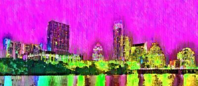 Business Painting - Austin Texas Skyline 105 - Pa by Leonardo Digenio