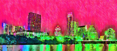Evening Painting - Austin Texas Skyline 106 - Da by Leonardo Digenio