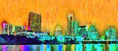 Tx Painting - Austin Texas Skyline 108 - Pa by Leonardo Digenio