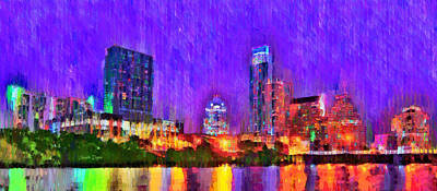 Scene Painting - Austin Texas Skyline 110 - Pa by Leonardo Digenio