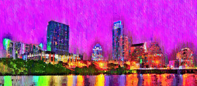 Rivers Digital Art - Austin Texas Skyline 111 - Da by Leonardo Digenio