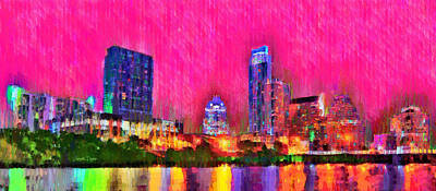 Landmarks Painting Royalty Free Images - Austin Texas Skyline 112 - PA Royalty-Free Image by Leonardo Digenio