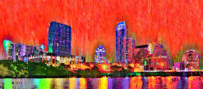 Austin Skyline Digital Art - Austin Texas Skyline 113 - Da by Leonardo Digenio