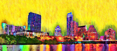 Town Digital Art - Austin Texas Skyline 114 - Da by Leonardo Digenio