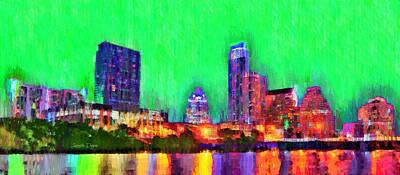 Travel Painting - Austin Texas Skyline 116 - Pa by Leonardo Digenio