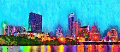 Light Painting - Austin Texas Skyline 117 - Pa by Leonardo Digenio