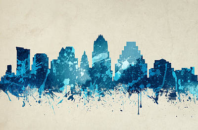 Austin Skyline Painting - Austin Texas Skyline 20 by Aged Pixel