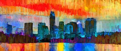 Metropolis Digital Art - Austin Texas Skyline 201 - Pa by Leonardo Digenio