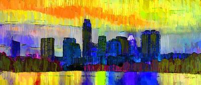 Frost Painting - Austin Texas Skyline 202 - Pa by Leonardo Digenio