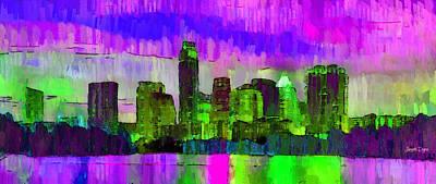 Austin Texas Skyline 205 - Da Art Print by Leonardo Digenio