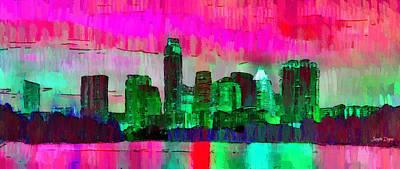 Street Painting - Austin Texas Skyline 206 - Pa by Leonardo Digenio