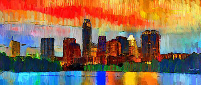 Travel Painting - Austin Texas Skyline 207 - Da by Leonardo Digenio