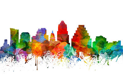 Austin Skyline Painting - Austin Texas Skyline 21 by Aged Pixel