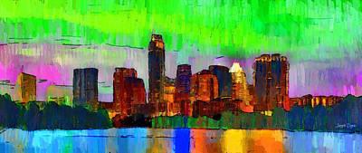 Colorado Digital Art - Austin Texas Skyline 213 - Da by Leonardo Digenio