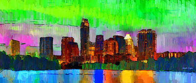 Bank Painting - Austin Texas Skyline 213 - Pa by Leonardo Digenio
