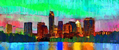 Bridges Painting - Austin Texas Skyline 214 - Pa by Leonardo Digenio