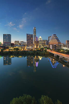 Frost Tower Photograph - Austin Texas Skyline At Night 73 by Rob Greebon