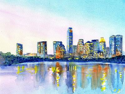Park Scene Painting - Austin Texas Skyline by Carlin Blahnik