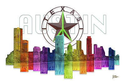 Digital Art - Austin Texas Skyline by Doug Kreuger