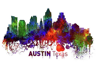 Austin Skyline Mixed Media - Austin Texas Skyline by Kevin O'Hare