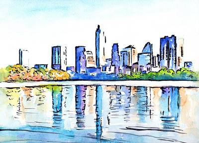 Painting - Austin Texas Skyline Lady Bird Lake by Carlin Blahnik CarlinArtWatercolor
