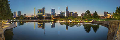 Watercolor Typographic Countries - Austin Texas Skyline Panorama before Sunrise 1 by Rob Greebon