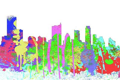 Digital Art - Austin Texas Skyline-splish by Marlene Watson