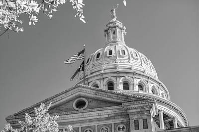 Photograph - Austin Texas State Capitol Building - Black And White by Gregory Ballos