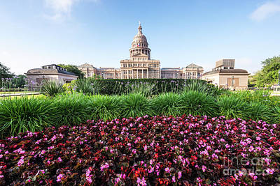 Historic Buildings Images Photograph - Austin Texas State Capitol Building Flowers by Paul Velgos