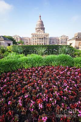 Austin Texas State Capitol Flowers Art Print by Paul Velgos