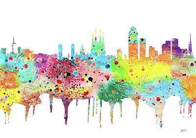 Barcelona Digital Art - Barcelona Watercolor Print by Svetla Tancheva