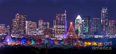 Cityscapes Digital Art - Austin Zilker Christmas Tree Skyline by Tod and Cynthia Grubbs