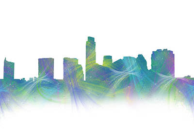 Abstract Digital Photograph - Austin Jazzy Watercolor Skyline by Tod and Cynthia Grubbs
