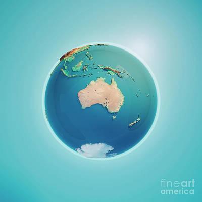 Australia 3d Render Planet Earth Art Print