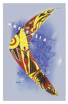 Kangaroo Digital Art - Australia Boomerang Aboriginal Art National Travel Association Vintage World Travel Poster by Retro Graphics
