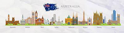 Australia City Skyline Panorama Original by Don Kuing