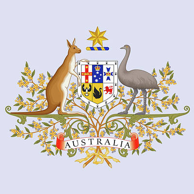 Kangaroo Drawing - Australia Coat Of Arms by Movie Poster Prints