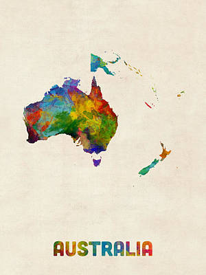 Digital Art - Australia Continent Watercolor Map by Michael Tompsett
