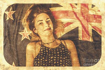 Australia Day Pinup Girl Postcard Art Print