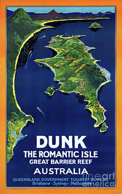 Australia Dunk Restored Vintage Travel Poster Art Print by Carsten Reisinger