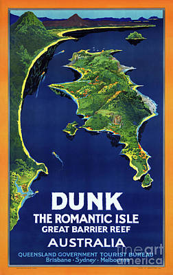 Australia Dunk Restored Vintage Travel Poster Art Print