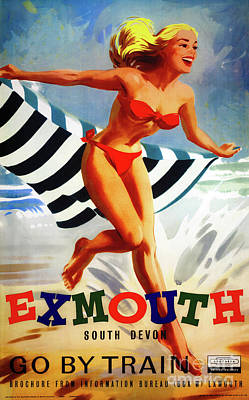 Drawing - Australia Exmouth South Devon Vintage Poster by Carsten Reisinger