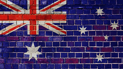 Digital Art - Australia Flag On A Brick Wall by Steve Ball