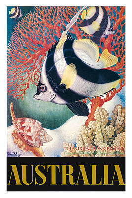 Heron Digital Art - Australia Great Barrier Reef Vintage World Travel Poster By Eileen Mayo by Retro Graphics