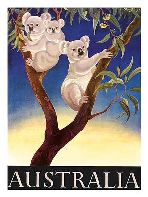Koala Wall Art - Digital Art - Australia Koala Vintage World Travel Poster By Eileen Mayo by Retro Graphics
